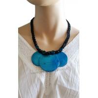 Collier cordon noir 3 cercles de nacre bleus Lara Ethnics