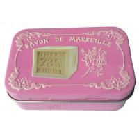 Boîte à savon SAVON DE MARSEILLE sur fond rose