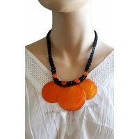 Collier cordon noir 3 cercles de nacre orange Lara Ethnics