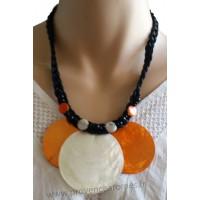 Collier cordon noir 3 cercles de nacre orange et blanc Lara Ethnics