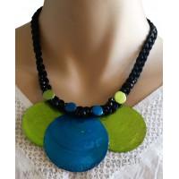 Collier cordon noir 3 cercles de nacre vert et bleu Lara Ethnics