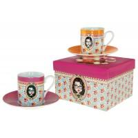 Coffret de 2 tasses à café ÉMILY Lili Pétrol déco rétro vintage design