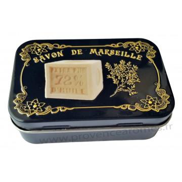 Boîte à savon SAVON DE MARSEILLE sur fond noir