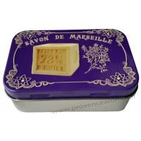 Boîte à savon SAVON DE MARSEILLE sur fond violet