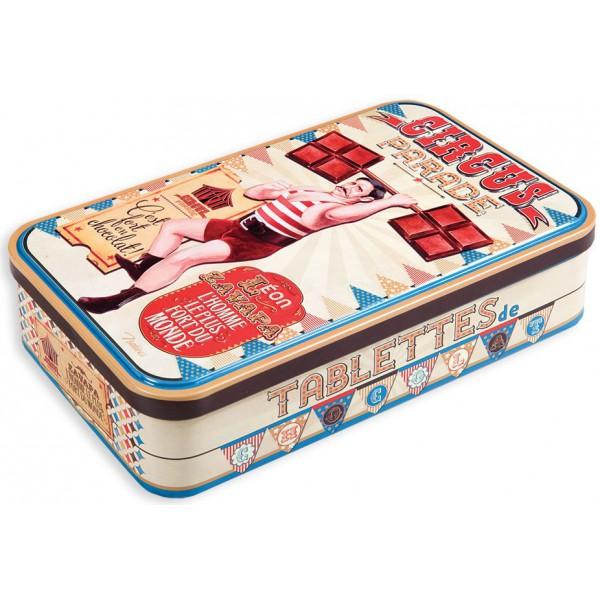 boite m tal pour tablettes de chocolat circus parade natives d co r tro vintage provence. Black Bedroom Furniture Sets. Home Design Ideas