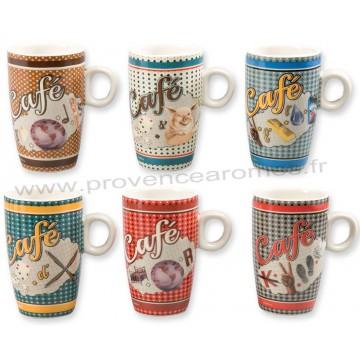 6 tasses à café RÉBUS Natives déco rétro vintage humoristique