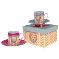 Coffret de 2 tasses à café CHLOÉ Lili Pétrol déco rétro vintage design