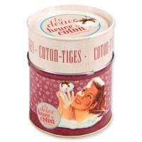 Boîte à coton-tiges LA DOUCE HEURE DU COTON Natives déco rétro vintage