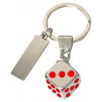 Porte-clés Dé de jeu porte clés métal et strass