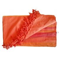 Grande Tenture Kérala Plaid couvre-lit orange sanguine carotte mandarine