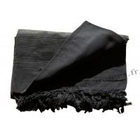 Grande Tenture Kérala Plaid couvre-lit noir