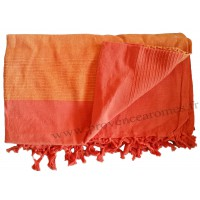 Grande Tenture Kérala Plaid couvre-lit orange carotte citrouille