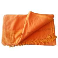 Grande Tenture Kérala Plaid couvre-lit orange frangé clair