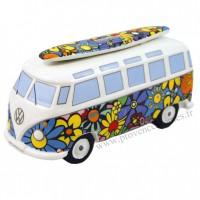 Tirelire combi Volkswagen fleuri Brisa rétro vintage collection