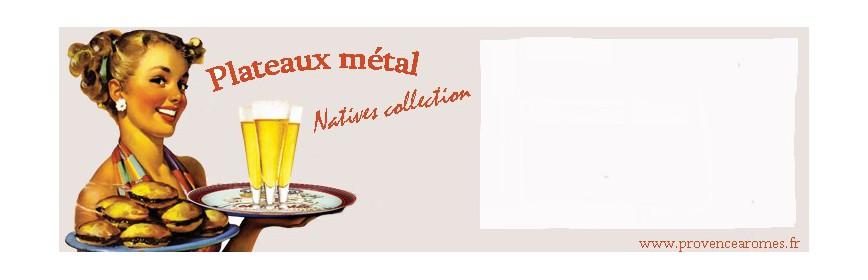 Plateaux métal et bambou Natives déco rétro vintage