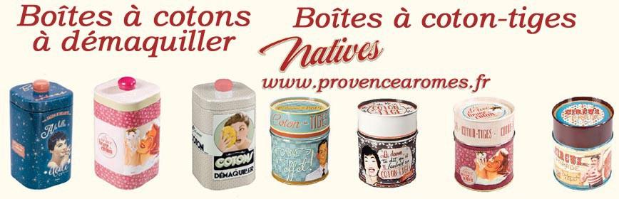 Boîtes à coton à démaquiller, boîtes à coton-tige Natives déco rétro vintage